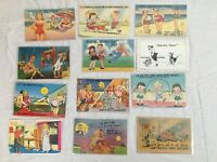 Lot of 20 Postcards, All Comic Funny Jokes Most Linen and some Divided Back