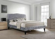 Carlo Provence Double Bed Frame 4FT6 135cm Dark Grey Crushed Velvet Fabric