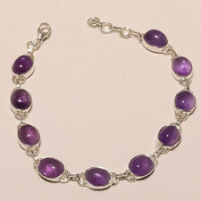 """925 SOLID STERLING SILVER NATURAL PURPLE AMETHYST CLASSIC  BRACELET 8.5""""W00317"""