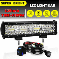 "12"" inch LED Work Light Bar Combo Spot Flood Driving Off Road SUV Boat ATV Wire"