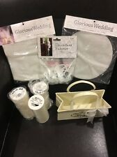 Ivory Wedding Tulle,Pew Fasteners, Metal Tin, Rose Petals