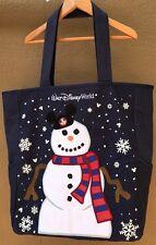 Walt Disney World Parks Embroidered Shoulder Tote Bag Purse Snowman Snowflakes