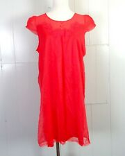 vtg 50s 60s Penneys Gaymode Solid Red Silky Satin Shorty Nightgown Slip sz M