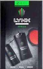LYNX AFRICA MANWASH TRIO GIFT SETS - BODYSPRAY, SHOWER GEL.& MANWASH BNIB