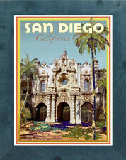 San Diego, CA (Framed) Art Deco Style Travel Poster -by Aurelio Grisanty