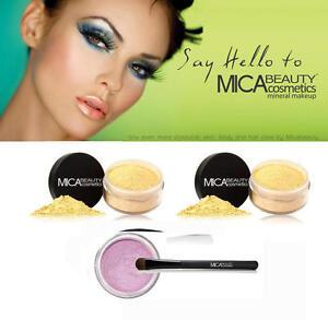 2X Mica Beauty Foundation MF3 + Oval Brush+ Eye Shim.#25 Orchid+A-viva Nail Kit