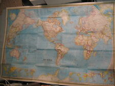HUGE VINTAGE THE WORLD MAP + POLLUTION National Geographic December 1970 MINT