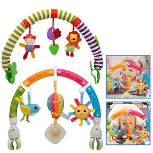 Baby Travel Play Arch Stroller Crib Pram Activity Bar with Rattle Squeak Toys UK