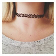 Tattoo Choker Stretch 10 Necklace Black 90s Vintage Elastic Gothic WHOLESALE