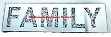 Diamond Crush Crystal Sparkly Silver Mirrored Family Wall Hanging Art 20x70cm