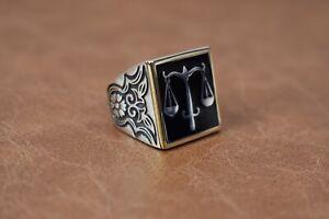Turkish Handmade 925 Sterling Silver  Men's Ring 9.5 US Symbol Of Justice