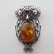 Genuine, Cognac / Brown BALTIC AMBER Owl Pendant, 925 STERLING SILVER *0213
