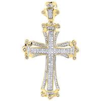 10K Yellow Gold Diamond Cross Pendant Round Cut Pave Domed Design Charm 0.69 Ct.