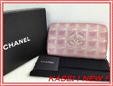 Auth Chanel New Travel Line Pink Canvas Wallet Vintage 5l400380