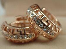 Ladies 18k Yellow gold GF Solid Created diamond Greek Key Hoop Huggie Earrings