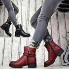 NUEVO Designer Zapatos Mujer Botas Botines con hebillas Forrado Rojo Rojo Vino