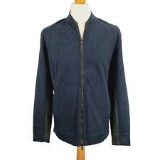 NEW Mens Massimo Dutti Navy Grey Zip Up Jumper Sz L UK 40 Cotton Blend Pockets