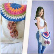 Authentic 100% Wayuu Mochila Colombian Bag Large Size  Decorated lap.