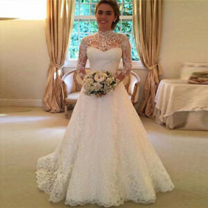 Princess Marriage Wedding Bridal Dress Formal Party White Ivory Lace Ball Gowns