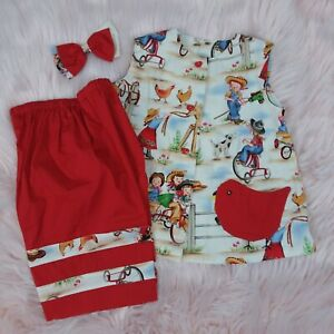 Homemade Toddler Dress Bloomers Hair Bow Size Approx.12/18 Months Vintage Fabric