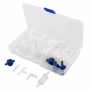 Plastic Home Aquarium Air Pump Control Return Valve Tubing Connector Set 100In 1
