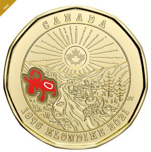 2021 Canada 125th anniversary of Klondike Gold Rush COLOURED $1 Loonie