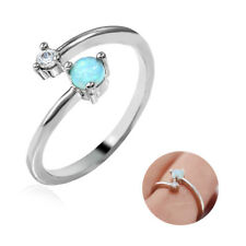 Silver Plated Opal Ring MOM Ring Love Best Gift for Mother Band Ring Jewelry
