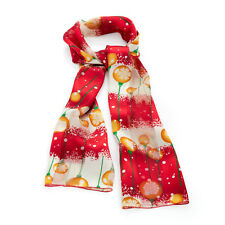 Red and gold Tone Bauble Print Satin Christmas Scarf Ladies Winter Wear Novelty