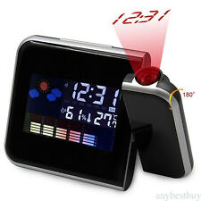 Digital LED Time Projector Weather Thermometer Snooze LCD Color Alarm Clock