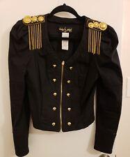 Baby Phat Embellished Puffy shoulder Black Blazer Jacket Gold Zip Up beaded S