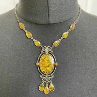Deco Abalone Style Resin Pendant Necklace Dark Gold Amber Tone Dangle Teardrop
