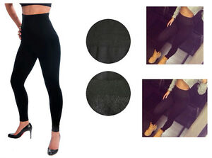 Ladies HIGH WAISTED FOOTLESS Fleece Lined BLACK LEGGING Tummy #TX701X Plus Size