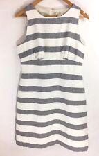 J.CREW Sz 10 Striped Basketweave White Gray A-Line Dress Sleeveless Linen Shift