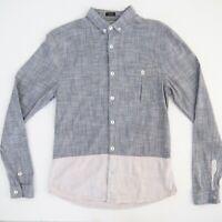 BILLABONG Mens Shirt Size S Linen Look Long Sleeve Grey & Bone 100% Cotton NWOT