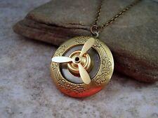 Handmade Steampunk Propeller Locket Necklace