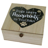 Dog Memory Box Keepsakes Dog's Leave Pawprints On Your Heart Ashes Box Wooden