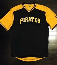 new PITTSBURG PIRATES retro neck coolbase performance fitted tee shirt L large