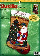 """Bucilla Santa's Lodge ~ 18"""" Felt Christmas Stocking Kit #84261, Fishing, Cabin"""