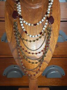 Set 2 Vintage Bead Necklaces Avon SP Red Brass 3 Strand Bohemian & White Glass L