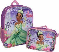 "Princess Girl's Tiana 16"" Backpack W/ Detachable Lunch Box - 2 Piece Set"
