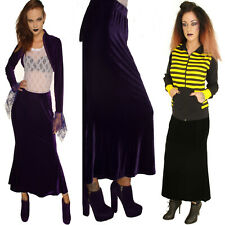 PURPLE / BLACK  VELOUR FIT AND FLARE LONG SKIRT STEAM PUNK GOTHIC