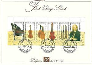 [FDS37] Belgium FDS 2000-15 Music First Day Sheet SUPERB