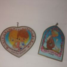 Vintage Precious Moments Pair Of Sun Catchers Love One Another Make Joyful Noise