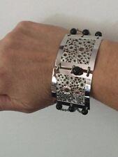 Genuine Black Onyx Bead Bubble Design Stainless Steel Station Bracelet 7.75 Inch