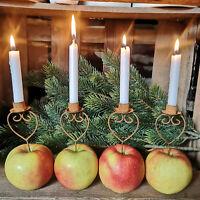 4er Set Kerzenhalter Metall Herz Rost Pick zum Stecken Dorn Advent mit Dorn