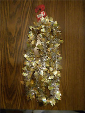 6 Feet Of Christmas Tinsel Garland  Silver with Gold Pointsettas  New Old Stock