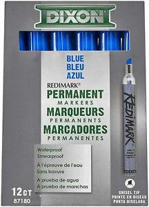 Dixon Ticonderoga 87180 Waterproof Redimark Blue Permanent Markers (Dozen)