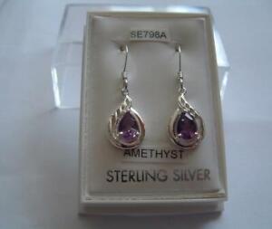 New 925 Sterling Silver genuine Amethyst gemstone earrings in box