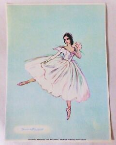 Genuine Vintage Brownie Downing Ballerina Print, Cute Ballet Colour Picture
