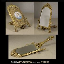 Antique French Bronze Neo Classical Hand MIRROR Mechanical FRAME Ratel artist